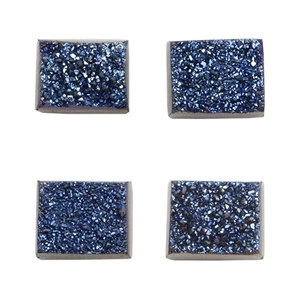 Brazilian Blue Druzy Gemstone Cabochons - Rectangle - Pkg/4