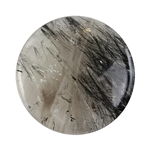 Black Tourmalinated Quartz Gemstone - Round Cabochon 35mm - Pkg/1