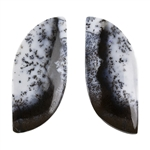 Dendritic Opal Gemstone - Cabochon Freeform 12.5mm x 29mm -Matched Pair