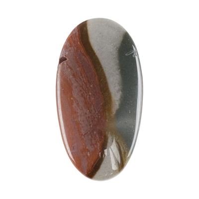 Polychrome Jasper Gemstone - Defective Stone - Oval Pendant 18mm x 34mm