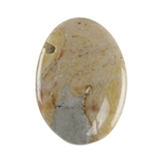 Polychrome Jasper Gemstone - Defective Stone - Oval Pendant 18mm x 25mm