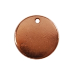 Copper Plate Shape - Round Pendant - 13mm Pkg - 4