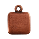 Antique Copper Plate Shape - Square Pendant - 9mm