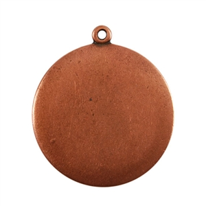 Antique Copper Plate Shape - Round Connector - 25mm