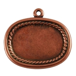 Antique Copper Plate Shape - Framed Oval Pendant - 20mm x 26mm
