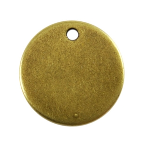 Antique Brass Plate Blank - Round Pendant - 13mm Pkg - 4