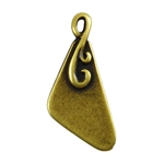 Antique Brass Plate Blank - Flourished Triangle Pendant - 10mm x 18mm Pkg - 4