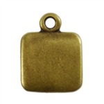 Antique Brass Plate Blank - Square Pendant - 9mm Pkg - 4