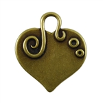 Antique Brass Plate Blank - Embellished Heart Pendant - 24mm x 22mm