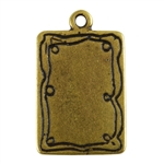 Antique Brass Plate Shape - Doodle Frame Rectangle Pendant - 15mm x 21mm