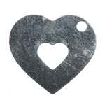 Sterling Silver Plate Blank - Hollowed Heart - 19mm x 21mm Pkg - 2