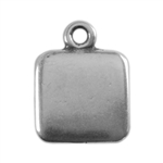 Antique Silver Plate Shape - Square Pendant - 9mm Pkg - 4