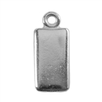 Silver Plate Shape - Rectangle Pendant - 6mm x 11mm Pkg - 4