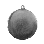 Antique Silver Plate Shape - Round Pendant - 25mm Pkg - 2