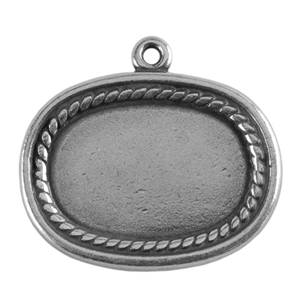 Antique Silver Plate Shape - Framed Oval Pendant - 20mm x 26mm Pkg - 2