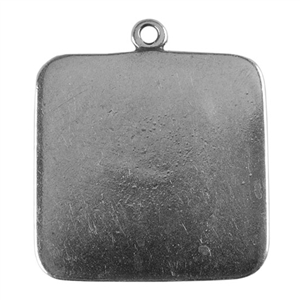 Antique Silver Plate Shape - Square Pendant - 25mm Pkg - 2