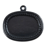 Gunmetal Plate Shape - Framed Oval Pendant - 20mm x 26mm Pkg - 2