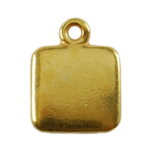 Gold Plate Shape - Square Pendant - 9mm Pkg - 4