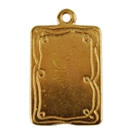 Gold Plate Shape - Doodle Frame Rectangle Pendant - 15mm x 21mm Pkg - 2