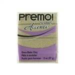 Premo Accent Sculpey Polymer Clay - Yellow Gold Glitter 2 oz block