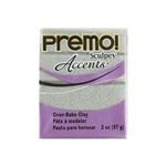 Premo Accent Sculpey Polymer Clay - White Gold Glitter 2 oz block