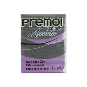 Premo Accent Sculpey Polymer Clay - Graphite Pearl 2 oz block