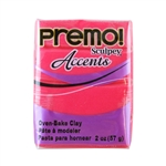 Premo Accent Sculpey Polymer Clay - Red Translucent 2 oz block