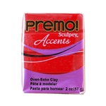Premo Accent Sculpey Polymer Clay - Red Glitter 2 oz block