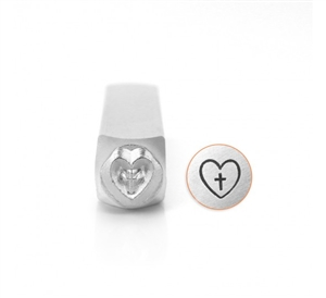 Design Stamp - Cross in Heart 6mm