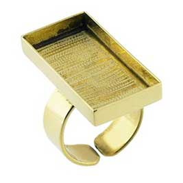 Brass Rectangle Bezel Cup Adjustable Ring