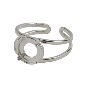 Sterling Silver Bezel Setting Adjustable Ring - Round