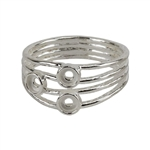 Sterling Silver 3 Bezel Setting Ring - 3mm Pkg 1