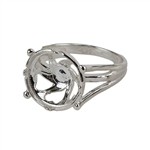 Sterling Silver Whimsy Heart Setting Ring -12mm Pkg 1