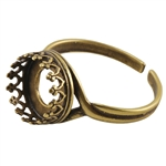Bronze Plate Gallery Setting Adjustable Ring - Round