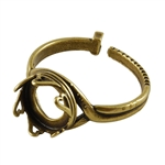 Antique Brass Hearts Setting Adjustable Crimp Ring - Round 10mm