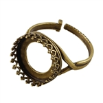 Antique Brass Gallery Setting Adjustable Crimp Ring - Round 14mm
