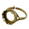Antique Brass Floral Garden Setting Adjustable Crimp Ring - Round 14mm