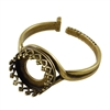 Antique Brass Gallery Setting Adjustable Crimp Ring - Round 10mm