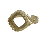 Brass Gallery Setting Adjustable Ring - Square