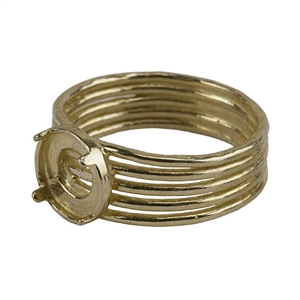 Brass Tapered Band Prong Setting Ring -8mm Pkg 1
