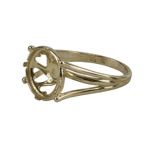 Brass Whimsy Heart Setting Ring -12mm Pkg 1