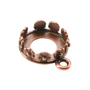 Copper Pendant Setting - Flower Round 10mm