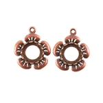 Copper Plate Flower Pendant Setting - Round 8mm