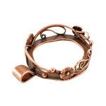 Copper Plate Pendant Setting - Flowers & Swirls 24mm