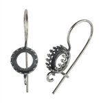 Antique Silver Plate French Earwires - Bezel Gallery Setting with Loop - 8.5mm 1 Pair