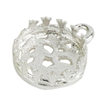Sterling Silver Pendant Bezel Setting - Flower Gallery Filigree Back Round 10mm Pkg - 1