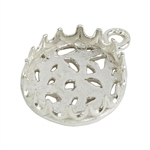 Sterling Silver Pendant Bezel Setting - Post Gallery Filigree Back Round 12mm Pkg - 1