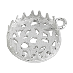 Sterling Silver Pendant Bezel Setting - Post Gallery Filigree Back Round 14mm Pkg - 1