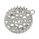 Sterling Silver Pendant Bezel Setting - Post Gallery Filigree Back Round 20mm Pkg - 1