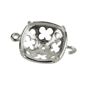 Sterling Silver Bezel Connector Setting - Clover Cushion w/1 open end 12mm Pkg - 2